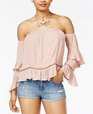American Rag NWT XL Off Shoulder Top Dusty Pink Ruffle Long Sleeve Crinkle Rayon