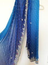 Blue shaded saree sari wedding eid diwali