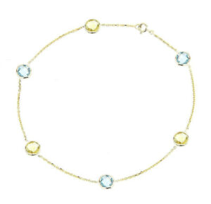 14K Yellow Gold Anklet Bracelet With Blue And Lemon Topaz Gemstones 9 Inches