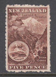 New Zealand Sc 77a MLH. 1898 5p violet brown Otira Gorge, fresh, LH