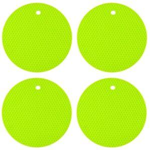 4 x GREEN ROUND HEAT RESISTANT SILICONE TRIVET MAT PAN POT HOLDER NON SLIP PAD