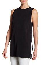 ALICE + OLIVIA Patsy Side Slit Washed Silk Tunic Tank Top Black XS, S MSRP$295