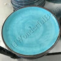 Pottery Barn Set 4 Swirl Dinner Plates Blue Turquoise Melamine