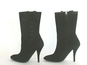 Women's Boots Designer Ralph Lauren Collection Black Suede Bow Detail Boots 8.5M