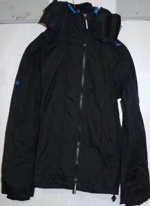 Men's Superdry Tech Hood Pop Zip Windcheater Black/Denby Blue Small VR85 02