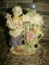 VINTAGE TILSO JAPAN LADY FIGURINE Young Girl Playing the harp & Rose Vase