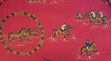 Vtg Womens Ralph Lauren Red 100% Cotton Horse Polo Logo Print Long Skirt In Sz 6