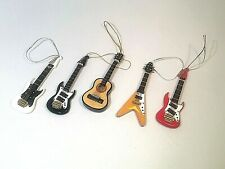 5 Miniature Guitar Ornaments