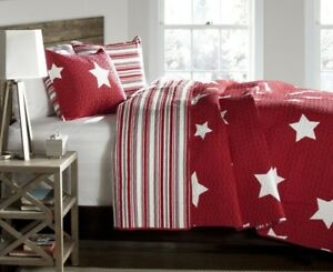 2pc STAR RED QUILT SET Twin Kids Bedding Patriotic Reversible Stripe White USA