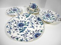 Johnson Brothers Rose Chintz Blue 5 Piece Dinner Set Dinnerware HTF Blue Chintz