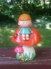 R. DAKIN & CO. Child on Mushroom TOADSTOOL Retro Bank CHALKWARE Japan 60's/70's