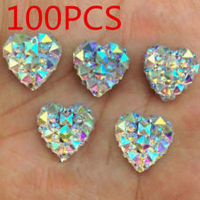 100Pcs 3D Charms Silver Heart Shape Faced Flat Back Resin Beads Decor DIY 10mm