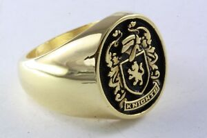 Wappenring Knights Knight Coat of Arms Gold Plated Lions Seal Ring /005