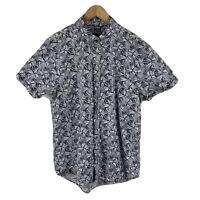 The Academy Brand Mens Button Up Shirt Size Medium Short Sleeve Floral Grey