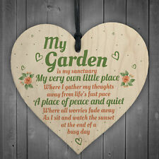 My Garden Gardening Shed Summer House Wood Shabby Chic Heart Sign Wall Plaque