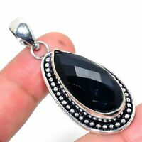 "Birthday Gift Black Spinel Handmade Ethnic Style Jewelry Pendant 1.97"" R-VJ-6349"