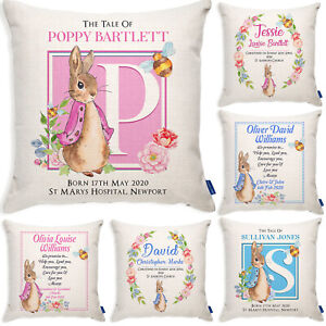 Personalised Christening Rabbit Cushion New Baby Pillow Cover Baby Shower Gift