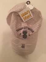 Panama City Beach FL Hat with pineapple Beige With White Strips NWT