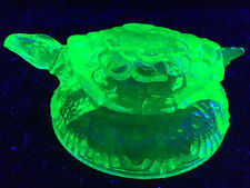 Green Vaseline glass Turtle uranium tortoise paperweight snapping candy dish art