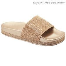 New Women&Kids Glitter Slid Slip On Flip Flops Comfort Flat Lightweight Sandals