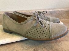 DV Dolce Vita Womens Lace Up Leather Oxford Flats Size 7.5 M Perforated Tan