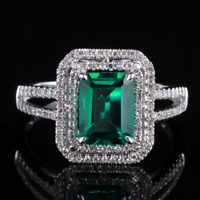 3ct Emerald Cut Green Emerald Double Halo Engagement Ring 14k White Gold Finish