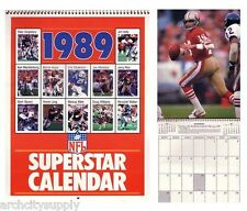 CASE OF 75 CALENDARS: NFL FOOTBALL- 1989  SUPERSTARS :  FREE SHIPPING !  RP95 C