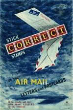 1950's GPO Poster P.R.D. 755 - STICK CORRECT STAMPS Air Mail - Stan Krol