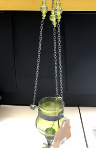 World Market Glass Hanging 23in Beaded chain Candle Holder (see Description) B-L