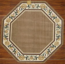 5' Octagon Kitchen Beige Cream Yellow Flowers Floral Vine Cute Area Rug Washable