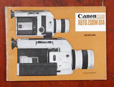 CANON SUPER-8 AUTO ZOOM 814 INSTRUCTION BOOK/210579
