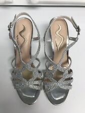 Nina Lady's Silver Glitter Dressy Wedge Sandals Formal Occasion Size 8 Worn Once