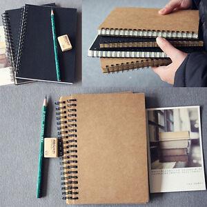 Reeves Hard Back Spiral Bound Coil Sketch Book Blank Paper Kraft Sketching Paper
