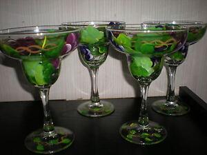 HANDPAINTED MULTI GRAPE MARGARITAS SET/4 MARGARITA GLASSES