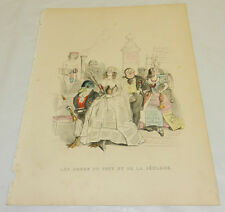 1844 Grandville COLOR Print/MARRIAGE OF PUFF & RECLAME/Hype & Advertisement