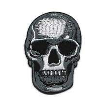 "SKULL IRON ON PATCH 3.5"" Biker Rocker Goth Skeleton Gray White Black Embroidered"