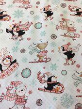 Studio e Menta Piperita Penguin 3018-8 SCI Renne orsi polari tessuto Natale