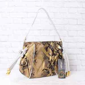 NWT $150 Ed Hardy by Christian Audigier Tan Terri Small Shoulder Bag Zipper NEW