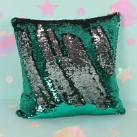 40cm Emerald Green & Silver Reversible Sequin Filled Decorative Cushion