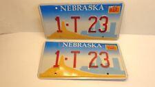 "Vintage Nebraska Vanity License Plate Pair ""1-T 23"" Chimney Rock Model T 2002"