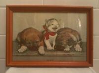 1930s Old Antique Vintage Puppy Dog & Kitten Cat Print Picture Title Susie