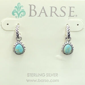 Barse Barely Basic Turquoise Drop Earrings- Sterling Silver- NWT