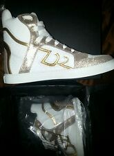 Dsquared2 Sneakers, D2 High Top, Women's Size 9 White and Gold