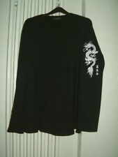 Mans Jumper Size XL Black Burtons Crew Neck Long Sleeve Cotton Dragon on Sleeve