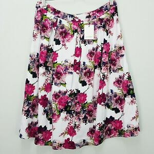 [ PORTMANS ] Womens White Base Floral Skirt NEW + TAGS   Size AU 12 or US 8