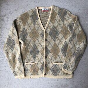 Vintage Jantzen Mohair Blend Neutral Argyle Cardigan Size Large