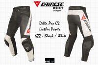 SALE - DAINESE DELTA PRO C2 PELLE LEATHER PANTS - BLACK WHITE - SIZE 46