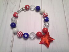 bubblegum chunky bead necklace star toddler girl 4th of july patriotic US SELLER