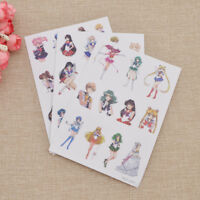 3 Sheets Sailor Moon Stickers DIY Scrapbooking Diary Stationery Anime Gift