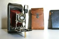 Antique Large KODAK Red Bellows Camera - Original Leather Case - Fully Working!